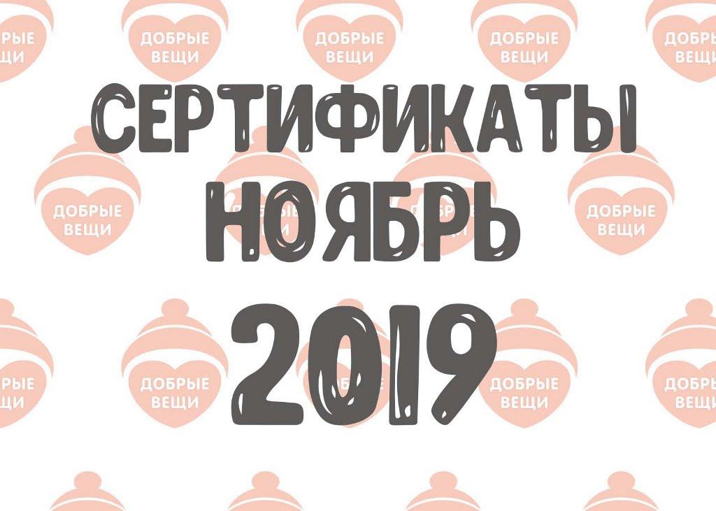 Отчет по выданным вещам в ноябре (2019 г.)