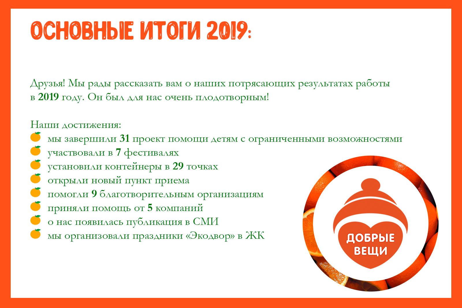 Годовой отчет о проделанной работе в 2019 году