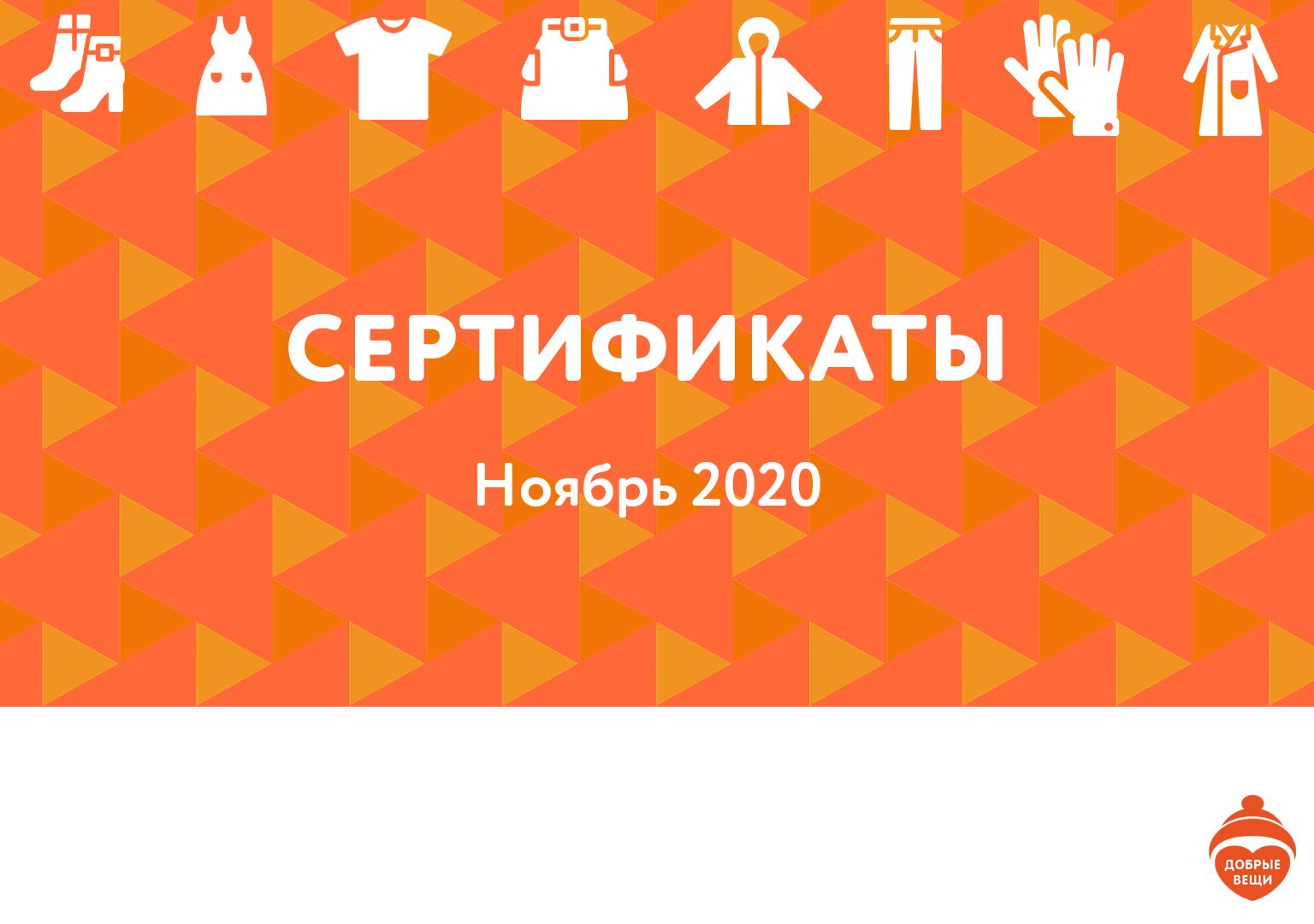 Отчет по выданным вещам в ноябре 2020 года